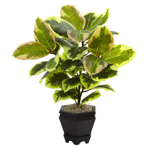 "Nearly Natural 6886 22"" Variegated Rubber Leaf Plant with Wood Planter"