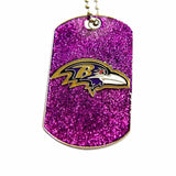 Baltimore Ravens Sports Team Logo Dog Fan Tag Glitter Necklace
