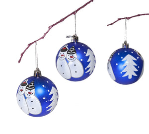 Perfect Holiday Handpainted 3-Piece Shatterproof Christmas Ornament Set, 2.75-Inch, Matte Dark Blue Snowman