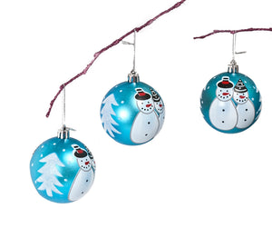 Perfect Holiday Handpainted 3-Piece Shatterproof Christmas Ornament Set, 2.75-Inch, Matte Light Blue Snowman
