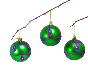 Perfect Holiday Handpainted 3-Piece Shatterproof Christmas Ornament Set, 2.75-Inch, Green Matte Ball with Peacock and Acrylic Diamond