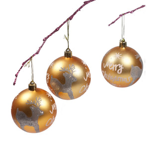 Perfect Holiday Handpainted 3-Piece Shatterproof Christmas Ornament Set, 2.75-Inch, Gold Ball Merry Christmas and Deer