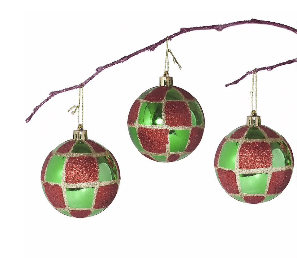 Perfect Holiday Handpainted 3-Piece Shatterproof Christmas Ornament Set, 2.75-Inch, Green Ball with Gold and Red