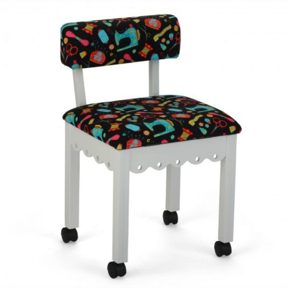 Arrow Sewing Cabinet Black Sewing Notions Chair with Gingerbread Scallops - White Finish