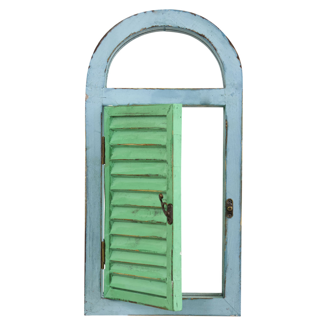 Nearly Natural 7024 Vintage Window Shutter & Mirror Wall DÃcor,Green,18.75'' x 3.5'' x 11''