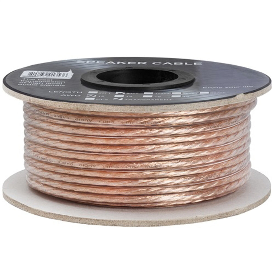 Cmple - 2 Conductor 12AWG Speaker Wire for Home Theater System, Amplifier, Car Audio Speaker Cable - 50 Feet, Clear