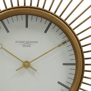 "Studio Designs Home Mod Large 30"" Retro Starburst Metal Wall Clock with Hour Minute Markers and Quartz Movement - Golden Brass"