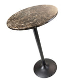 Cora Pub Table, Bar Height, Round, Faux Marble Top, Black Base