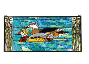 "Meyda Tiffany 77712 Wood Ducks Stained Glass Window, 35"" Width x 16"" Height"