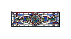 "Meyda Tiffany 77907 Evelyn in Lapis Transom Stained Glass Window Panel, 35"" Width x 11"" Height"