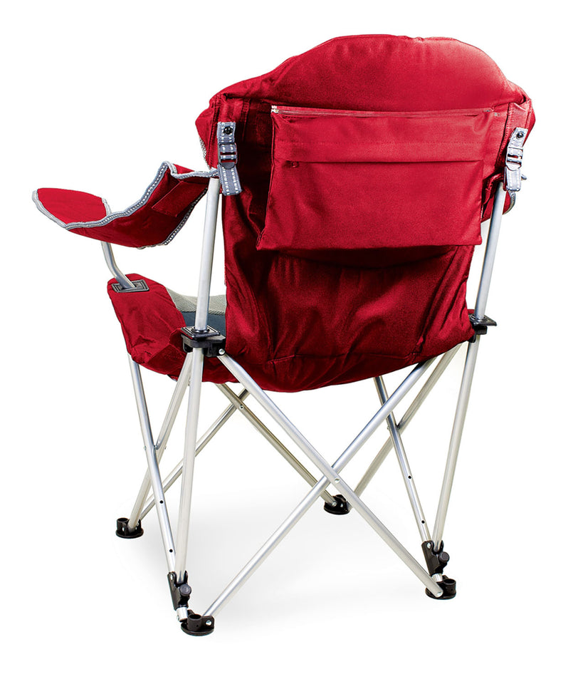 Picnic Time Portable Reclining Camp Chair, Red/Gray