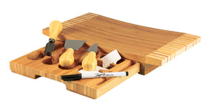 TOSCANA - a Picnic Time Brand Concavo Bamboo Cheese Board and Cheese Tool Set