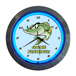 Neonetics Gone Fishing Neon Wall Clock, 15-Inch