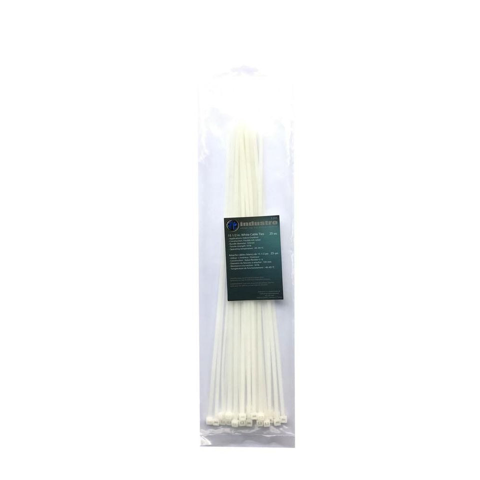 "Industro 15-1/2"" Nylon Natural Cable Tie, White - 25 Pack"