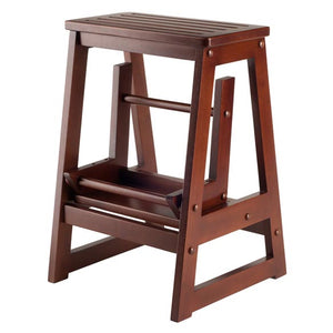 Winsome Wooden Step Stool, Double - Antique Walnut Finish