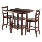 Winsome Wood Orlando 3 Piece Set High Table, 2 Shelves with 2 Ladder Back Stools