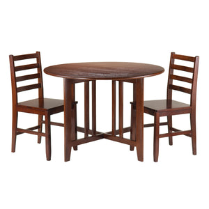 Winsome 3-Piece Alamo Round Drop Leaf Table with 2 Hamilton Ladder Back Chairs, Brown