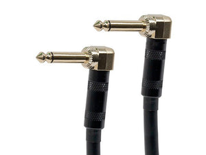 3ft Premier Series 1/4inch (TS or Mono Phono) Right Angle Male to Right Angle Male 16AWG Audio Cable (Gold Plated)