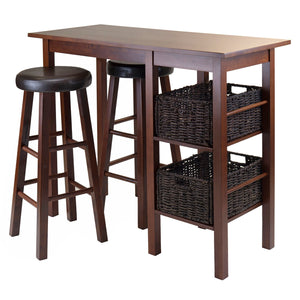 Winsome Wood Egan 5-Piece Breakfast Table with 2 Baskets and 2 PVC Swivel Seat Stools