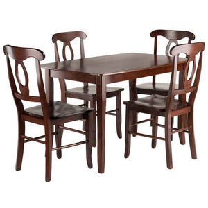 Winsome Inglewood 5-PC Set Table w/ 4 Key Hole Back Chairs Dining, Walnut