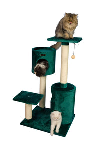Armarkat 43-Inch Wooden Step Cat Tower Tree Condo Scratcher Kitten House - Dark Green