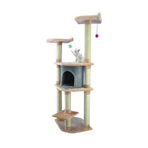 Armarkat 64-Inch Wooden Step Cat Tower Tree Condo Scratcher Kitten House In Blanched Almond With Silver Grey Condo