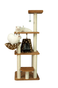 Armarkat 64-Inch Ultra Thick Faux Fur Classic Cat Tower Tree - Chocolate