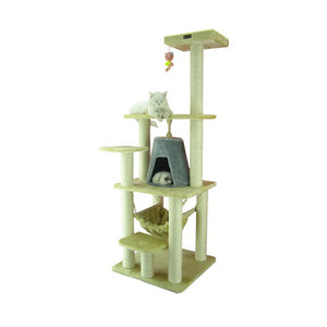 Armarkat 65-Inch Wooden Step Cat Tower Tree Condo Scratcher Kitten House - Beige