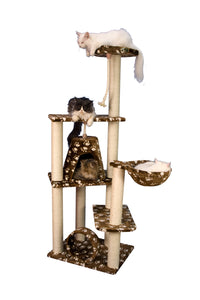 Armarkat 66-Inch Wooden Step Cat Tower Tree Condo Scratcher Kitten House In Saddlebrown With White Paw Print