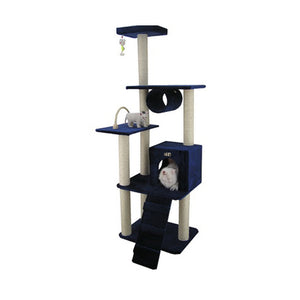 Armarkat 71-Inch Wooden Step Cat Tower Tree Condo Scratcher Kitten House - Navy Blue