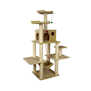 Armarkat 72-Inch Wooden Step Cat Tower Tree Condo Scratcher Kitten House - Beige