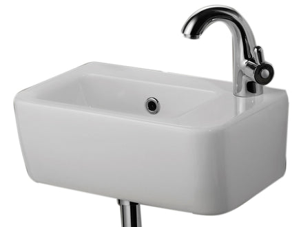 ALFI brand AB101 Small Wall Mounted Ceramic Bathroom Sink Basin, White