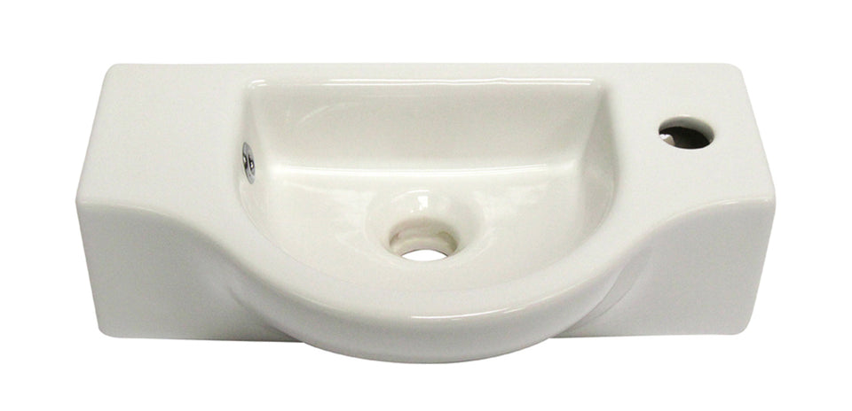 Alfi AB105 Ceramic Wall Mounted Rectangle Bathroom Sink, 17 X 10 X 5 inches, White
