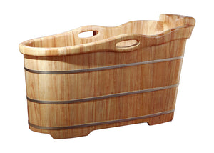 "ALFI brand AB1187 57"" Free Standing Rubber Soaking Bathtub with Headrest, Natural Wood"