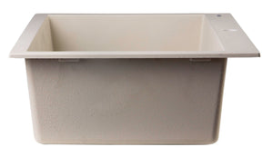 "ALFI brand AB3020DI-B Drop-In Single Bowl Granite Composite Kitchen Sink, 30"", Biscuit"