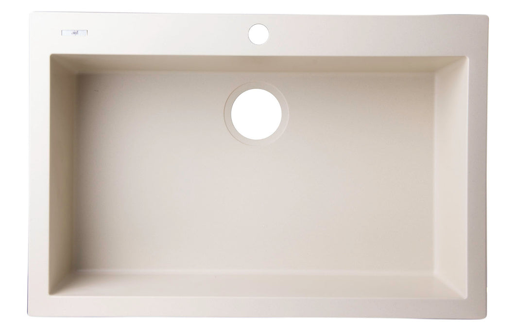 ALFI brand AB3020DI-B Drop-In Single Bowl Granite Composite Kitchen Sink, 30
