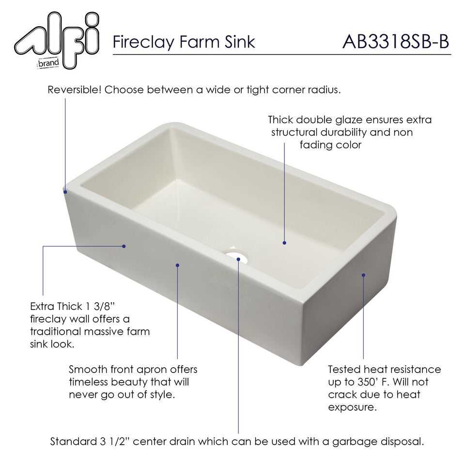 "ALFI brand AB3318SB-B 33"" Biscuit Smooth Apron Solid Thick Wall Fireclay Single Bowl Farm Sink"
