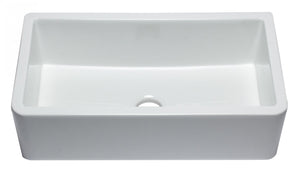 "ALFI brand AB3318SB-W 33"" White Smooth Apron Solid Thick Wall Fireclay Single Bowl Farm Sink"