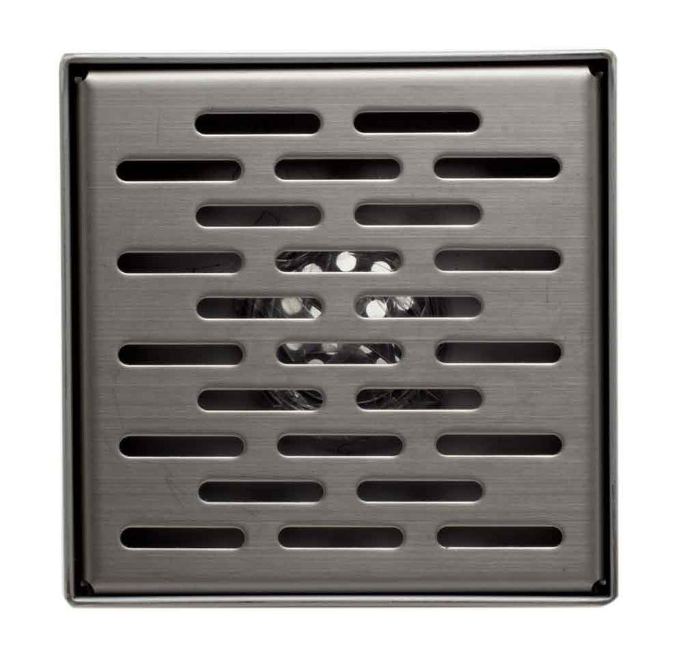 "Alfi Brand ABSD55C 5"" x 5"" Modern Square Stainless Steel Shower Drain with Groove Holes"