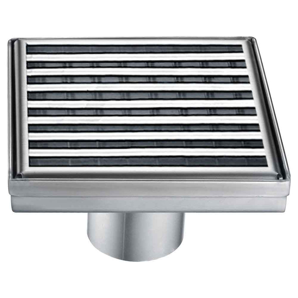 "ALFI brand ABSD55D 5"" x 5"" Square Stainless Steel Shower Drain with Groove Lines, Silver"