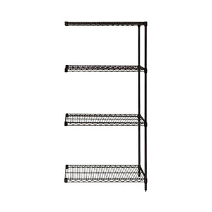 "Quantum Storage Systems AD54-2436BK Add-On Kit for 54"" High 4-Tier Wire Shelving Unit, Black Finish, 24"" Width x 36"" Length x 54"" Height"