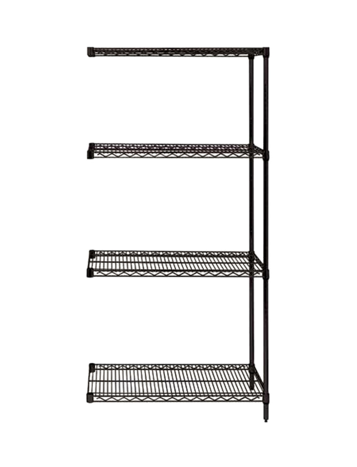"Quantum Storage Systems AD54-2448BK Add-On Kit for 54"" High 4-Tier Wire Shelving Unit, Black Finish, 24"" Width x 48"" Length x 54"" Height"