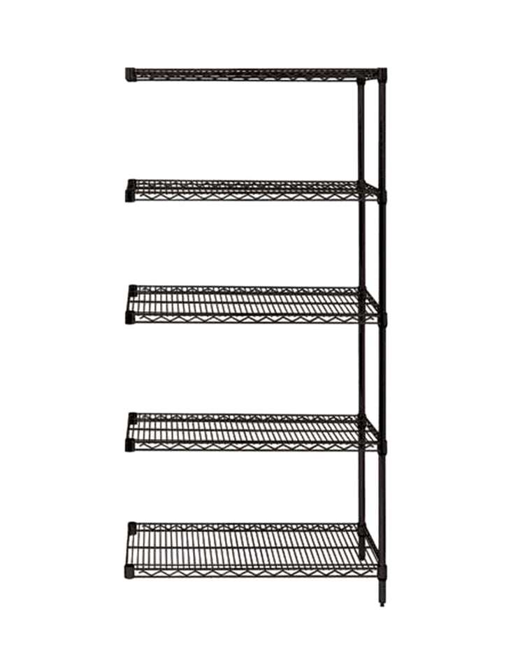 "Quantum Storage System Add-On Kit for 5-Shelf Wire Shelving Unit 18"" W X 36"" L X 63"" H Black Finish"