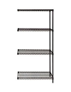 "Quantum Storage Systems AD63-2424BK Add-On Kit for 63"" High 4-Tier Wire Shelving Unit, Black Finish, 24"" Width x 24"" Length x 63"" Height"