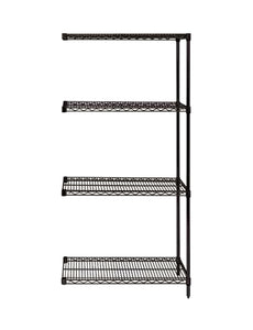 "Quantum Storage Systems AD74-1236BK Add-On Kit for 74"" High 4-Tier Wire Shelving Unit, Black Finish, 12"" Width x 36"" Length x 74"" Height"