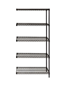 "Quantum Storage System Add-On Kit for 5-Shelf Wire Shelving Unit 18"" W X 24"" L X 74"" H Black Finish"
