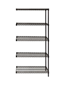 "Quantum Storage System Add-On Kit for 5-Shelf Wire Shelving Unit 18"" W X 72"" L X 74"" H Black Finish"