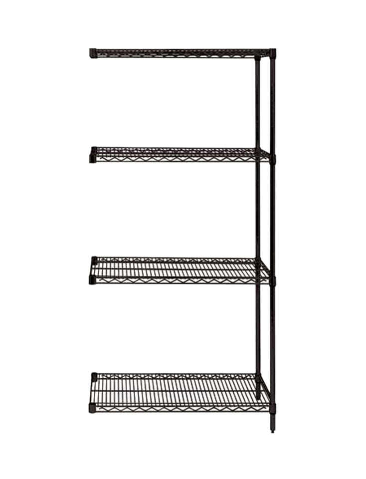 "Quantum Storage Systems AD86-2436BK Add-On Kit for 86"" High 4-Tier Wire Shelving Unit, Black Finish, 24"" Width x 36"" Length x 86"" Height"
