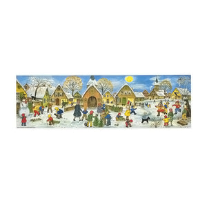 Alexander Taron Importer ADV263 Sellmer Advent Calendar Large Village Scene with Children Playing Out in The Snow