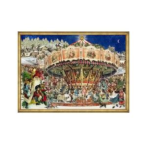 "Alexander Taron Importer ADV780 Sellmer Advent-Victorian Style Carousel at Christmas-10.5"" H x 14.5"" W x .1"" D, Brown"